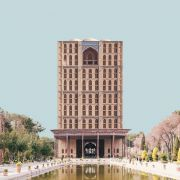 Retro futurism Iranian High rise Architecture Landmarks photomontage  17