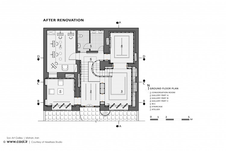 Ground Floor Plan  After Renovation  Soo Art Gallery in Isfahan